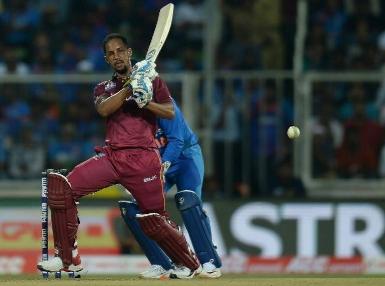 Lendl Simmons helped West Indies chase down their target with nine balls to spare. — AFP
