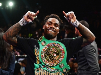 Jermall Charlo of the United States celebrates his WBC World Middleweight Championship against Dennis Hogan of Ireland at Barclays Center in the Brooklyn borough of New York City, on Saturday. — AFP