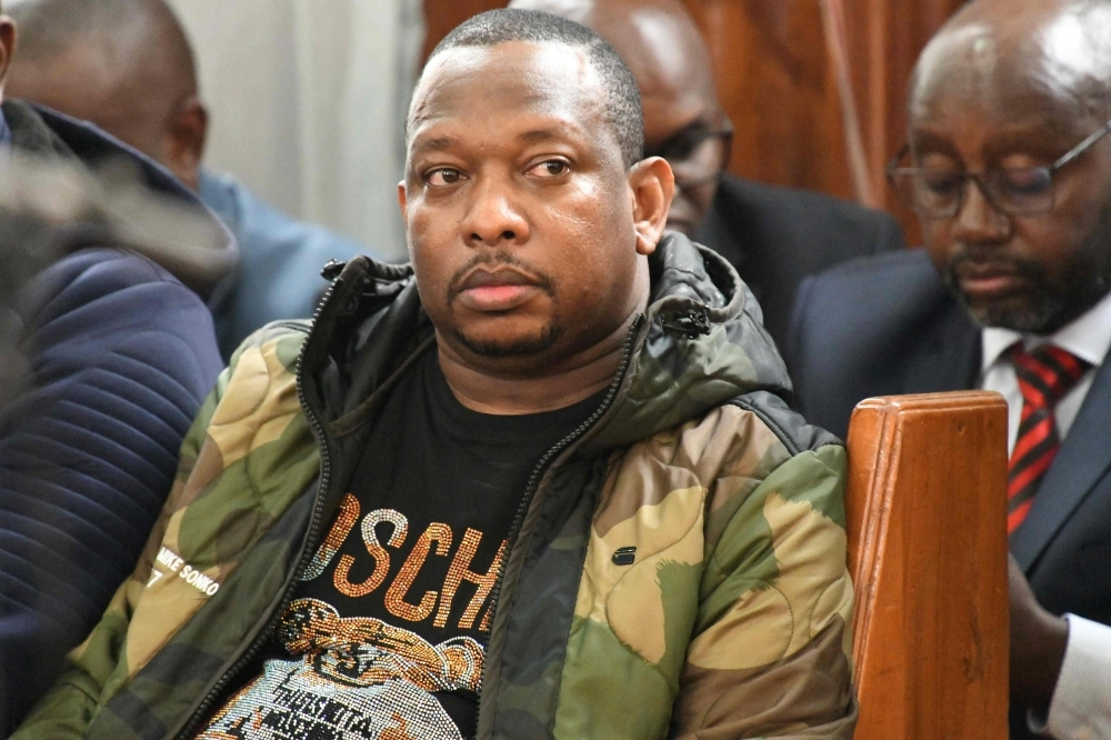 Nairobi's Governor Mike Sonko sits in a courtroom during a hearing after he was arrested on corruption-related charges, at the Milimani Law Courts in Nairobi, on Monday. -AFP