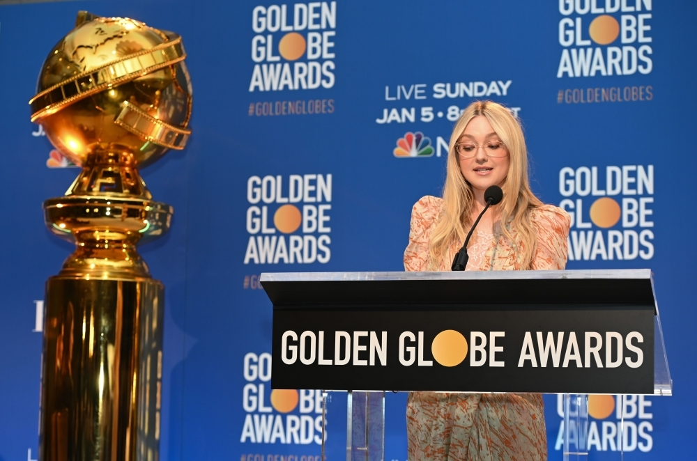 Actress Dakota Fanning announces the 77th Annual Golden Globe Awards nominations at the Beverly Hilton hotel in Beverly Hills on Monday. — AFP