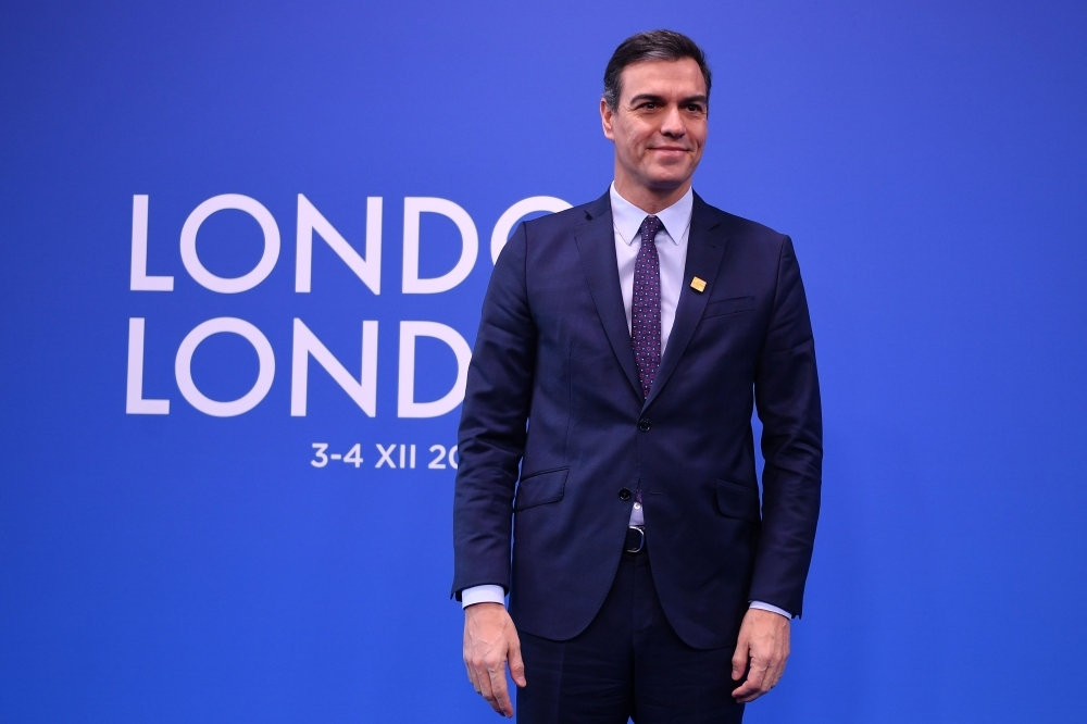 Spain's Prime Minister Pedro Sanchez arrives for the NATO summit at the Grove hotel in Watford, northeast of London, in this Dec. 4, 2019 file photo. — AFP