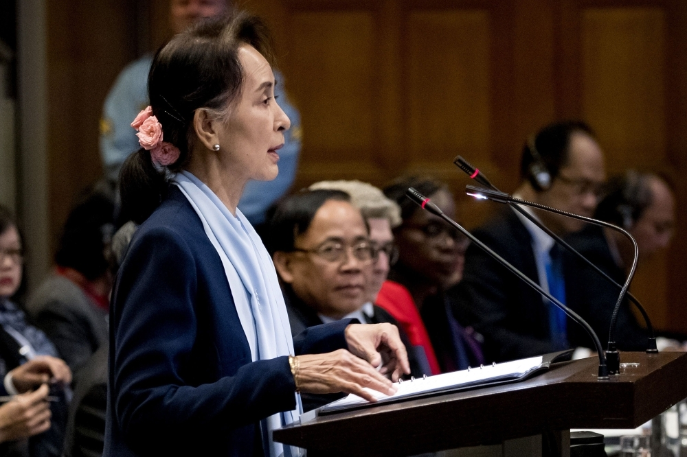 Myanmar's State Counsellor Aung San Suu Kyi speaks at the UN's International Court of Justice in the Peace Palace of The Hague on Wednesday. — AFP