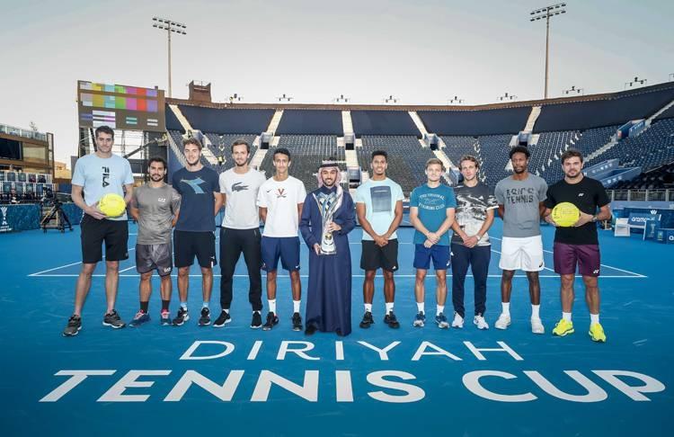 Prince Abdulaziz Bin Turki Al Faisal with all Diriyah Tennis Cup players.