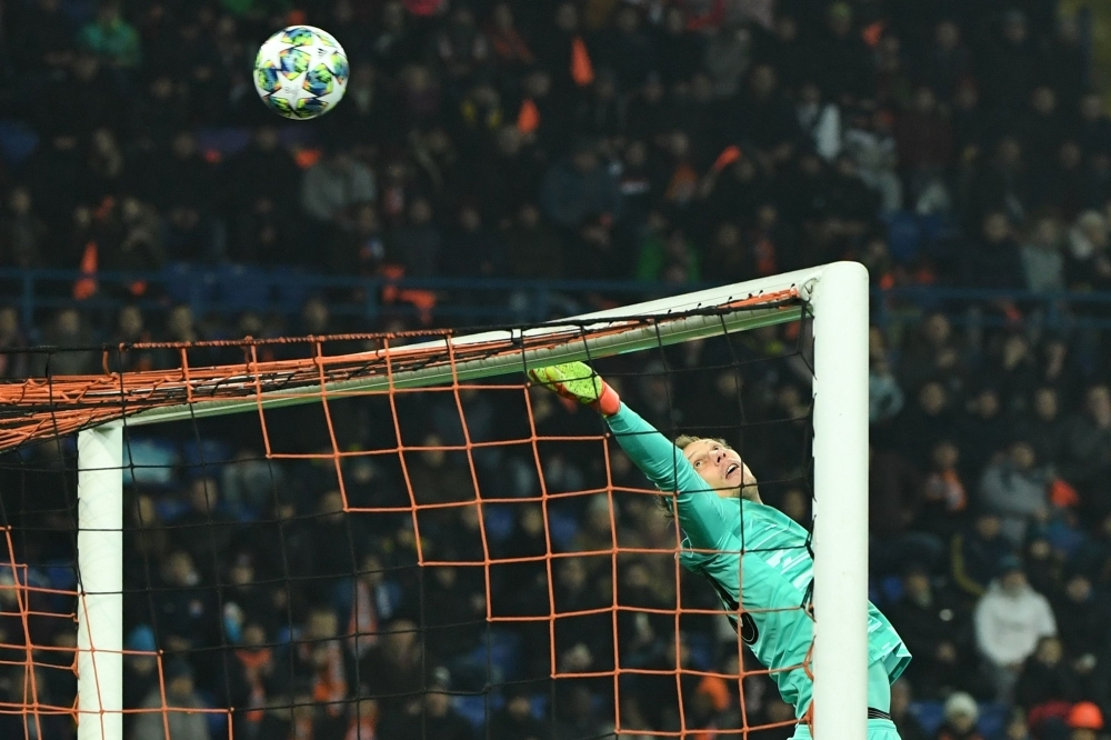 Shakhtar Donetsk's Ukrainian goalkeeper Andrey Pyatov in action during the UEFA Champions League Group C football match against Atalanta BC at the Metallist stadium in Kharkiv on Wednesday. — AFP