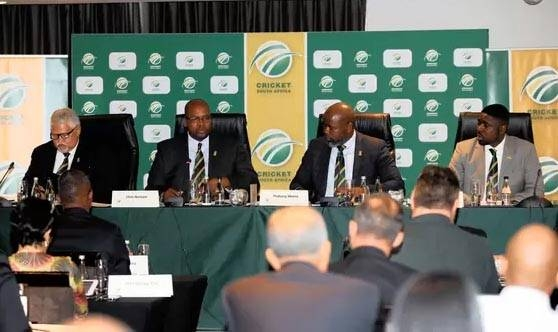 File photo shows Beresford Williams (vice president), Chris Nenzani (President), Thabang Moroe (CEO) and Naasei Appiah during the 2019 CSA AGM.