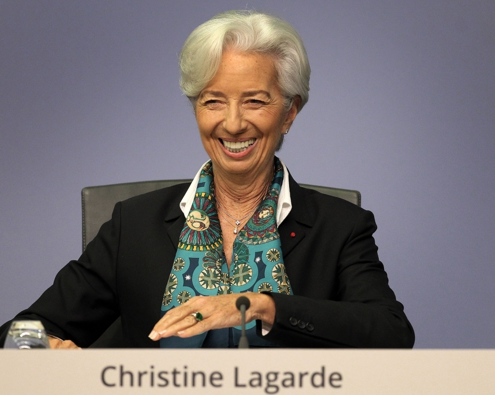 Christine Lagarde, president of the European Central Bank (ECB), addresses the media during a news conference following the meeting of the governing council of the ECB in Frankfurt am Main, western Germany, on Thursday. — AFP