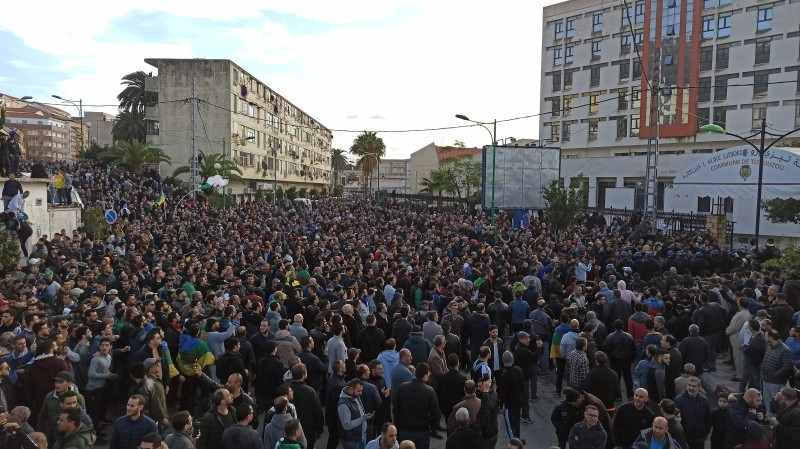 Algerians demonstrate during the presidential election a day earlier in Tizi-Ouzou, in the Kabylie heartland of the Amazigh community, about 100 km (62 miles) east of the capital Algiers, on Friday in this image taken from social media. — AFP