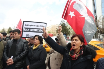People demonstrate outside the US embassy, on Friday in Ankara, one day after US congress  formally recognized the 1915-1917 murder of up to 1.5 million Armenians as genocide. — AFP