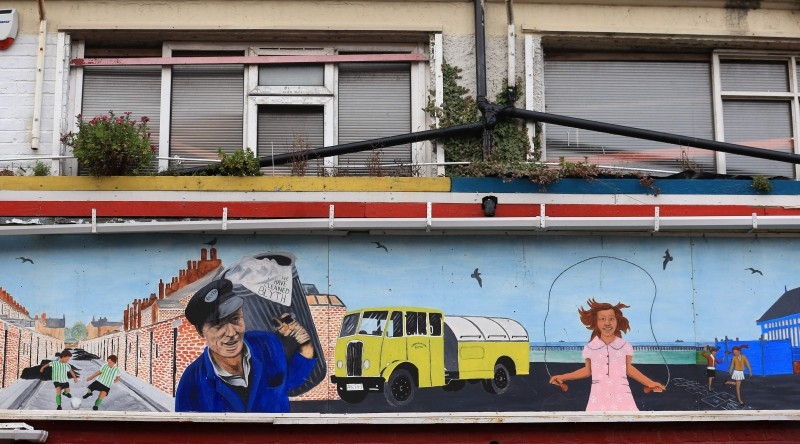 A mural is seen in the town of Blyth in northeast England on Friday the day after the former mining town voted in a Conservative MP for the first time in its history contributing to the Tory party's landslide victory. -AFP