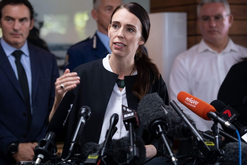 New Zealand's Prime Minsiter Jacinda Ardern speaks during a press conference about a mission to retrieve bodies from White Island after the December 9 volcanic eruption, in Whakatane on Friday. -AFP