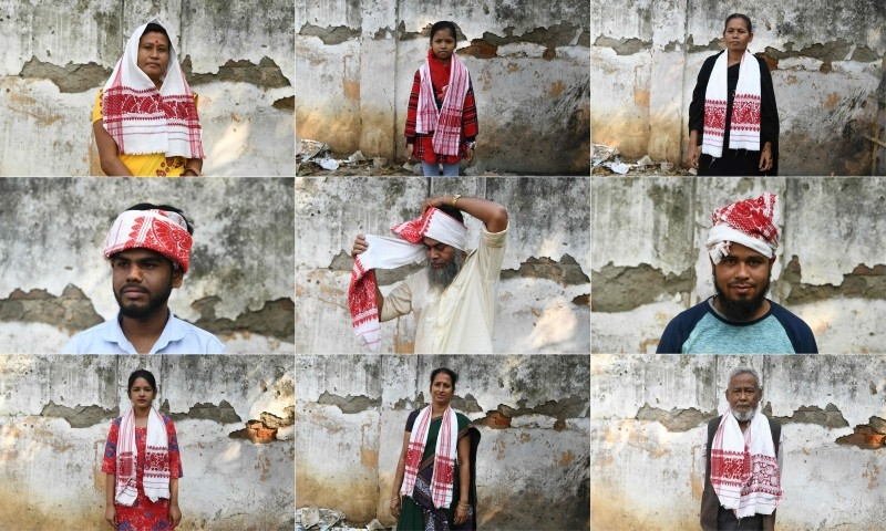 This combination of pictures created and taken on Saturday shows protestors wearing traditional Assamese scarves as they pose for a photograph before they join a protest against the Indian government's Citizenship Amendment Bill (CAB) in Guwahati. -AFP