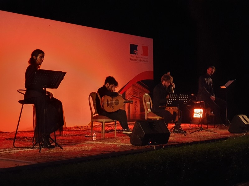 Orchestra musicians playing pieces for Mozart at the evening.