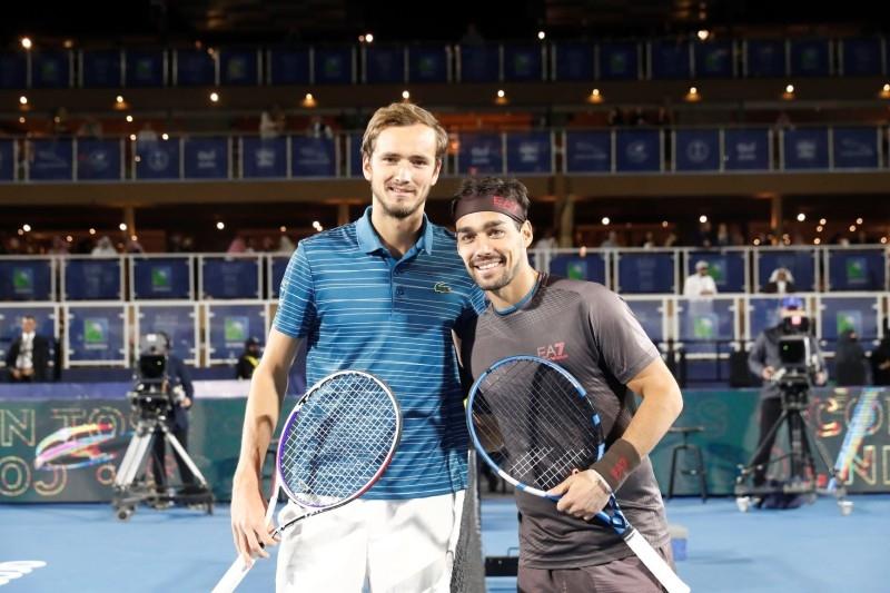 Diriyah Tennis Cup finalists Daniil Medvedev & Fabio Fognini.