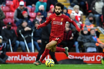 Liverpool's Egyptian midfielder Mohamed Salah controls the ball during the English Premier League football match against Watford at Anfield in Liverpool, north west England on Saturday. — AFP