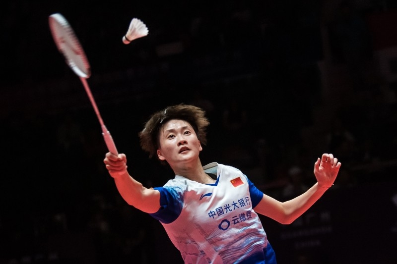 Chen Yufei of China hits a return against Tai Tzu Ying of Taiwan during their women's singles final match at the BWF World Tour Finals badminton tournament in Guangzhou in China's southern Guangdong province on Sunday. — AFP