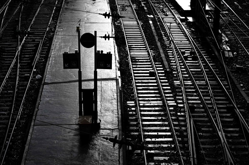 A picture taken on Dec.r13, shows empty tracks leading to the Saint-Lazare railway station in Paris, during a strike of public transports operator SNCF and RATP employees over French government's plan to overhaul the country's retirement system, as part of a nation-wide movement. — AFP