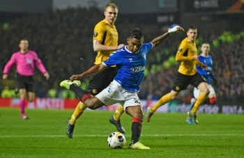 Alfredo Morelos of Rangers kicks the ball during the UEFA Europa League Group G football match between Rangers FC and BSC Young Boys at the Ibrox Stadium in Glasgow on Dec. 12, 2019. Morelos endured more red card misery on Sunday in Rangers' win over Motherwell. — AFP