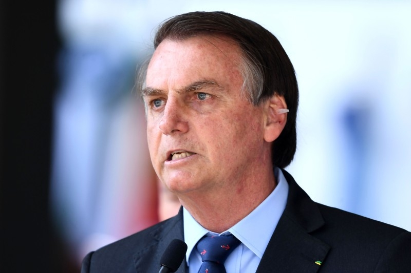 Brazilian President Jair Bolsonaro attends the Navy Day celebrations at the Marines Corp headquarters in Brasilia, on December 13, 2019. -AFP
