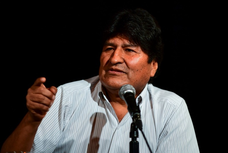 Bolivia's ex-President Evo Morales gestures during a press conference in Buenos Aires, on Tuesday. -AFP