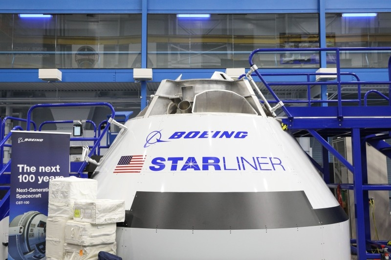 In this file photo taken on October 23, 2018 a mockup of the Boeing Starliner spacecraft is seen inside the Space Vehicle Mockup Facility during a media preview for an upcoming public open house at NASA's Johnson Space Center in Houston, Texas.  -AFP