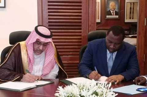 Dr. Khaled Bin Sulaiman Al Khudairy, vice chairman and managing director of the Saudi Fund for Development (left), and Domicien Ndihokubwayo, the Minister of Finance (right) for Burundi sign the new loan agreement. — Photo by AETOSWire