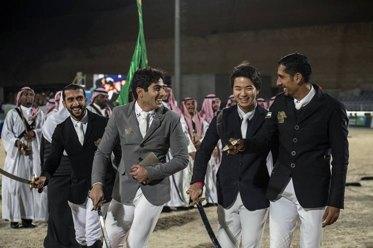 Saudi rider Abdulrahman Alrajhi performing Saudi A'rdha dance.