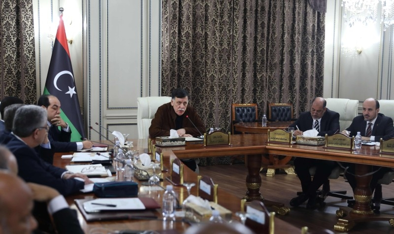 Libya's Tripoli-based Government of National Accord (GNA) holds a Cabinet meeting led by Fayez Al-Sarraj, center, in the Libyan capital Tripoli on Thursday. — AFP