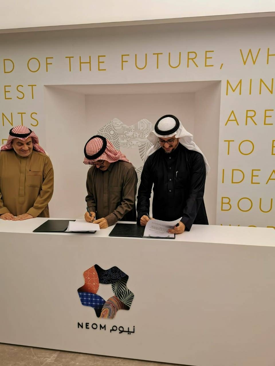 NEOM and UPM officials sign an agreement to provide jobs to Saudis in the hospitality sector. — Courtesy photo