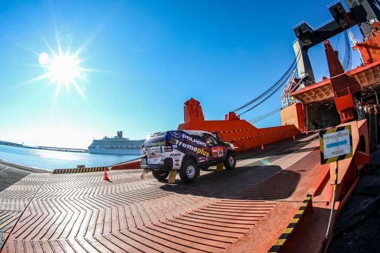 Vehicles loaded en route to Saudi Arabia ahead of Dakar Rally. — Courtesy photos