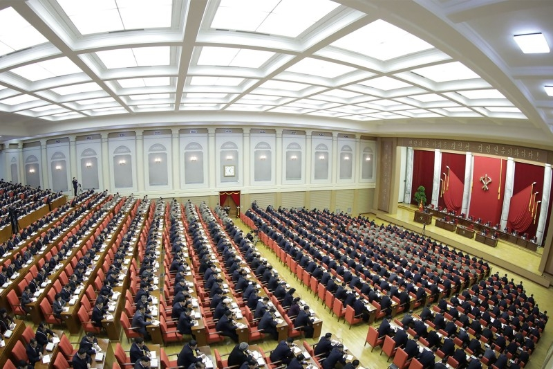 This picture taken on December 28, 2019 shows the 5th Plenary Meeting of the 7th Central Committee of the Workers' Party of Korea in Pyongyang. -AFP