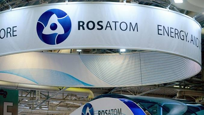 A picture taken on June 28, 2016 shows the logo of Russian atomic energy agency Rosatom during the World Nuclear Exhibition in Le Bourget, near Paris. —  AFP