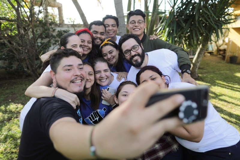 Jesus Tefel and Olama Hurtado take a selfie with members of Nicaraguan Civic Alliance after been released from 'El Chipote' prison, where 16 people spend 46 days detained for delivering water to mothers in hunger strike at San Miguel Church in Masaya, Nicaragua, on Monday. — AFP