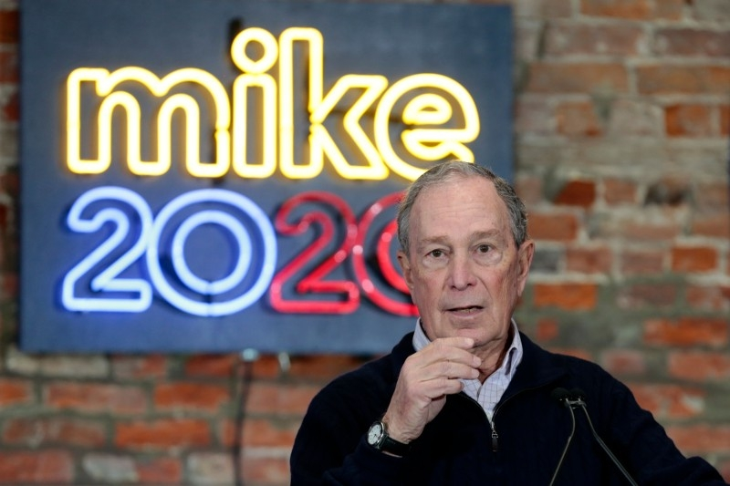 In this file photo taken on December 21, 2019 2020 Democratic presidential hopeful and former New York Mayor Michael Bloomberg speaks during an event to open a campaign office at Eastern Market in Detroit, Michigan. -AFP