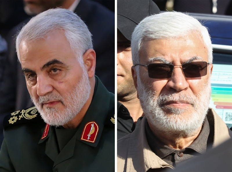 Iranian Major General in the Revolutionary Guard Corps (IRGC) Qasem Soleimani (L) and Abu Mahdi al-Muhandis (R).