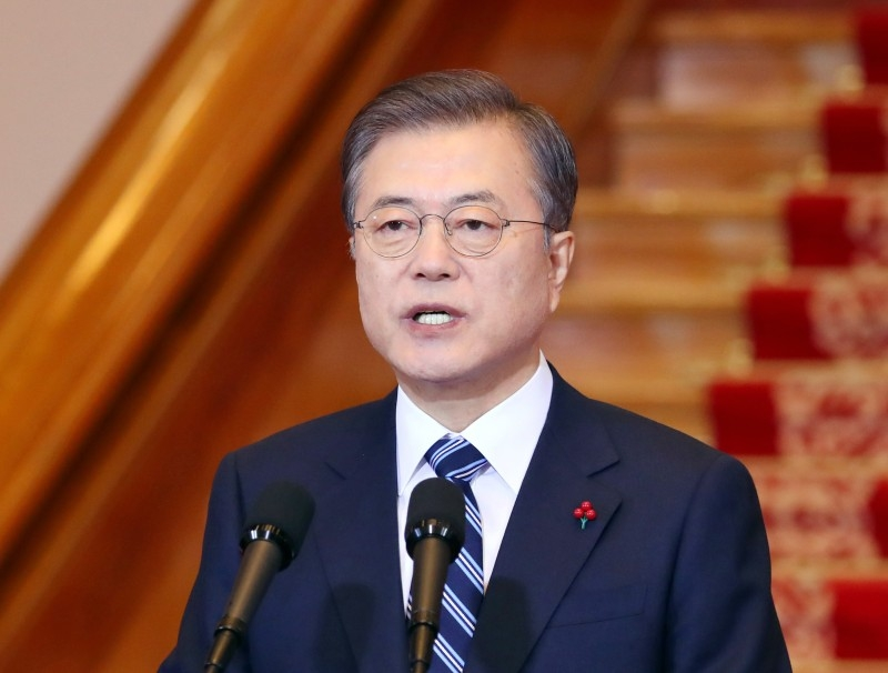 South Korean President Moon Jae-in delivers his New Year speech at the presidential Blue House in Seoul on Tuesday. -AFP