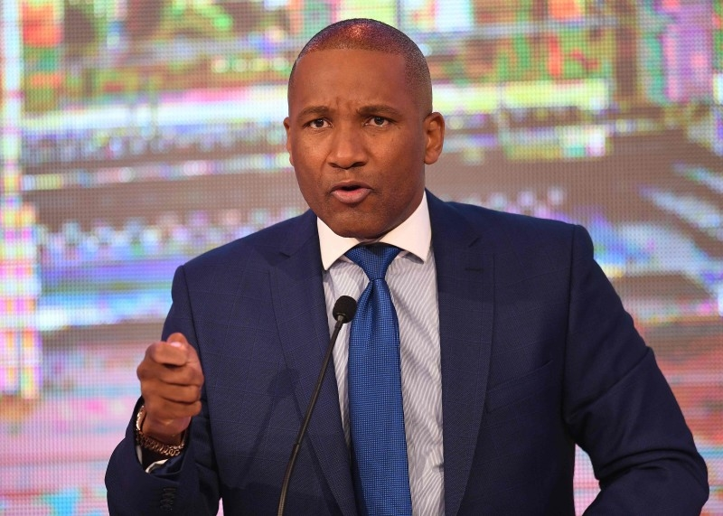 In this file photo taken on October 16, 2019 President of Umbrella for Democratic Change (UDC) Duma Boko during the Presidential Debate at the Mass Media Complex in Gaborone on October 16, 2019. -AFP