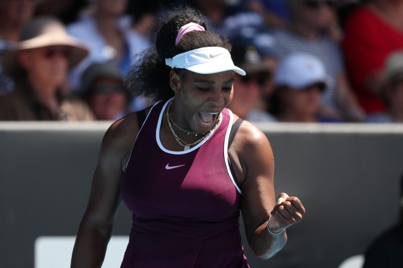 Serena Williams of the US celebrates a point against Christina McHale of the US during their women's singles second round match during the Auckland Classic tennis tournament in Auckland on Thursday. — AFP