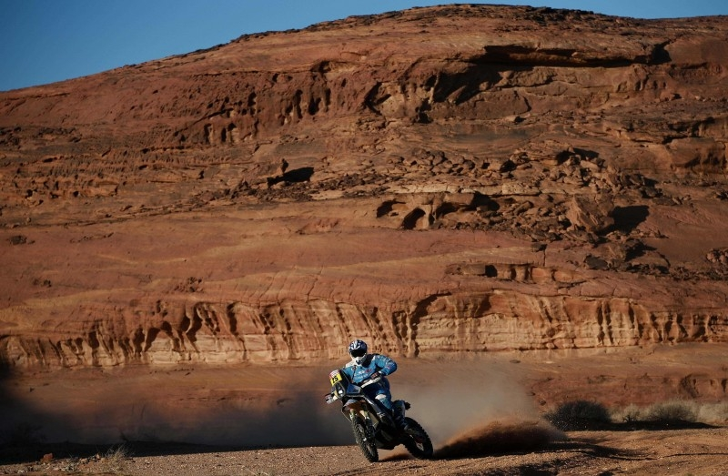 Spain's biker Juan Garcia Pedrero powers his KTM during Stage 5 of the Dakar 2020 between AlUla and H'il on Thursday. — AFP