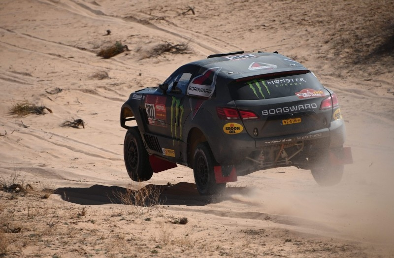 Borgward's driver Nani Roma of Spain and co-driver Daniel Carreras Oliveras of Spain compete in the fifth stage of the Dakar 2020 between AlUla and Hail, on Thursday. — AFP