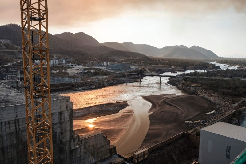 A general view of the Blue Nile river as it passes through the Grand Ethiopian Renaissance Dam (GERD),  near Guba in Ethiopia, on Dec. 26, 2019. The Grand Ethiopian Renaissance Dam, a 145-meter-high, 1.8-kilometer-long concrete colossus is set to become the largest hydropower plant in Africa. - AFP