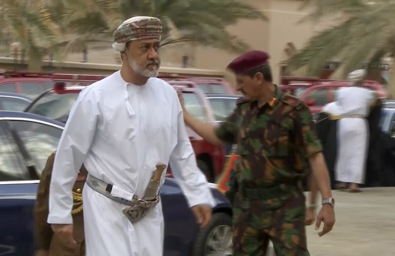 An image grab taken from Oman TV on Saturday, shows Oman's newly sworn-in Sultan Haitham Bin Tariq arriving to the Grand Mosque in the capital Muscat to take part in the funeral of Sultan Qaboos, the longest-reigning leader of the modern Arab world, who died the previous night at the age of 79. -AFP