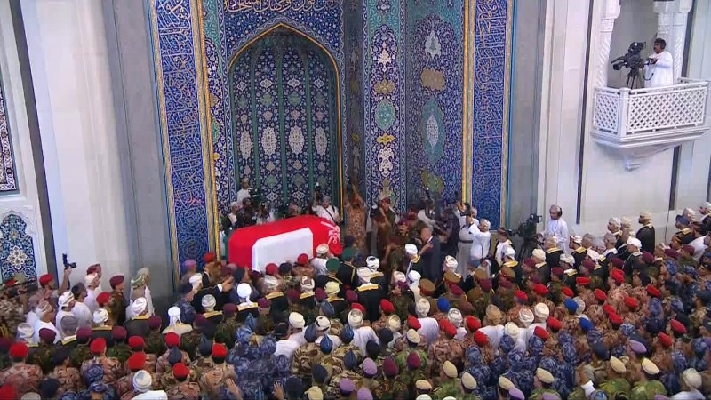 An image grab taken from Oman TV on Saturday, shows Omanis taking part in the funeral of Sultan Qaboos at the Grand Mosque in the capital Muscat. -AFP