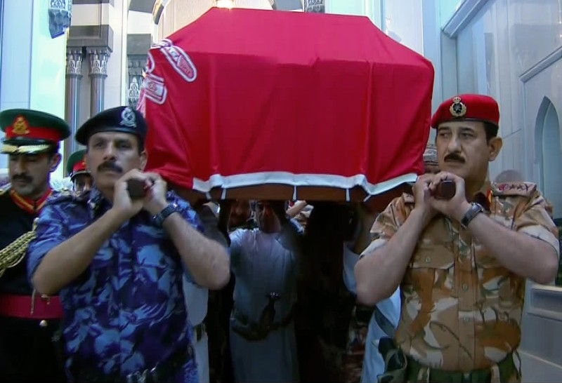 An image grab taken from Oman TV on Saturday shows members of the Omani military carrying the coffin of Sultan Qaboos, the longest-reigning leader of the modern Arab world, who died the previous night in the Omani capital Muscat at the age of 79. -AFP