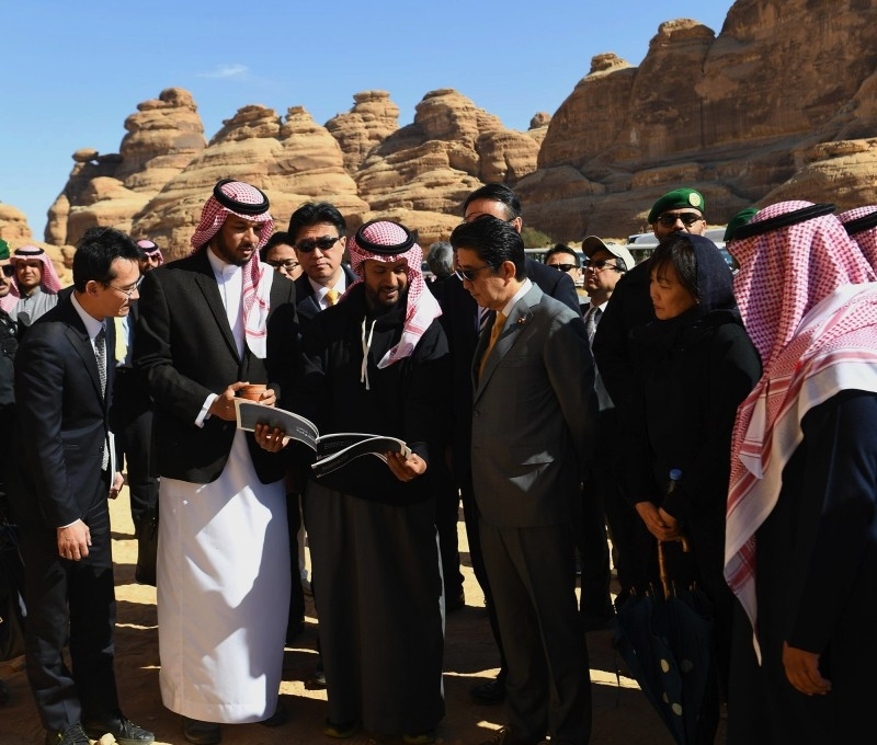 Japanese Prime Minister Shinzo Abe and his accompanying delegation visited Madain Saleh (Al-Hijr City) in Al-Ula governorate on Monday. — SPA