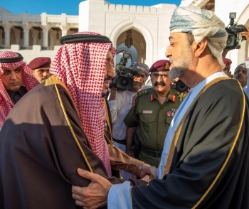 Custodian of the Two Holy Mosques King Salman meets with Sultan Haitham Bin Tariq of Oman during their meeting at Al-Alam Palace in Muscat on Monday. — SPA