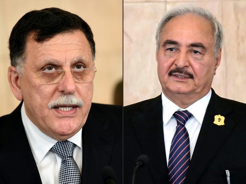 This combination of pictures shows Fayez Al-Sarraj, left, and General Khalifa Haftar. — AFP