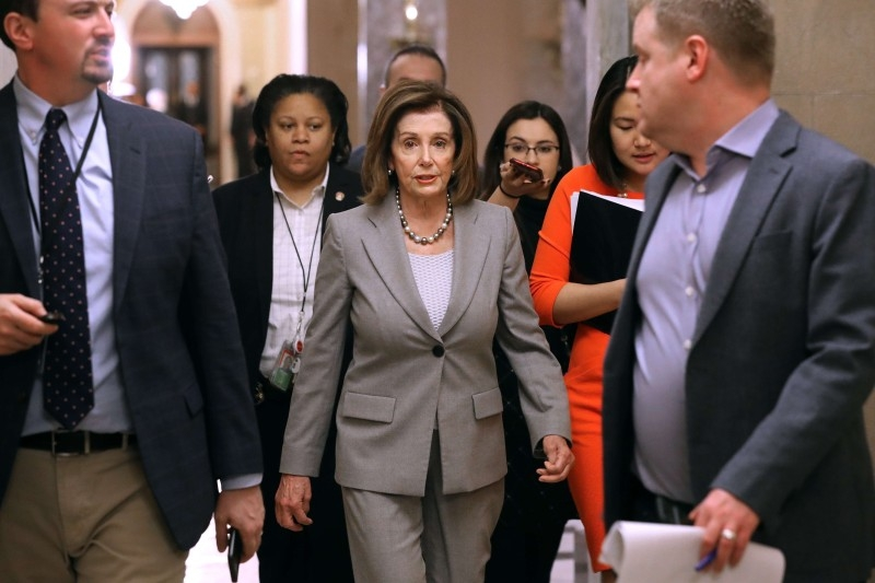 Speaker of the House Nancy Pelosi (D-CA) walks back to her office after leaving the House Chamber at the US Capitol Jan. 10, 2020 in Washington, DC. — AFP