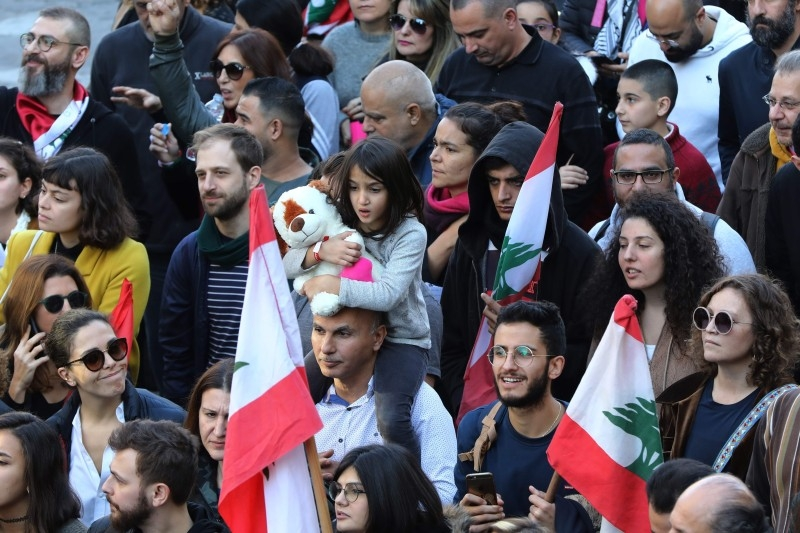 Lebanese demonstrators march during a demonstration near the Electricite du Liban (Electricity Of Lebanon) national company headquarters in the Lebanese capital Beirut in this Jan. 11, 2020 file photo. — AFP