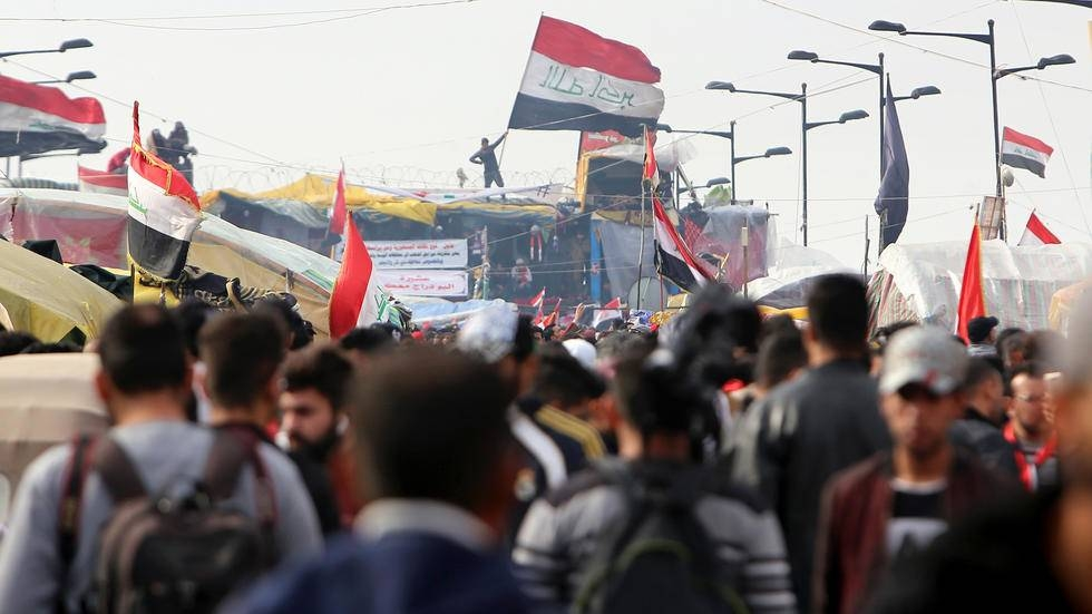 Demonstrators attempted to cross Al-Sinek Bridge in the heart of the Iraqi capital on Friday. -Courtesy photo