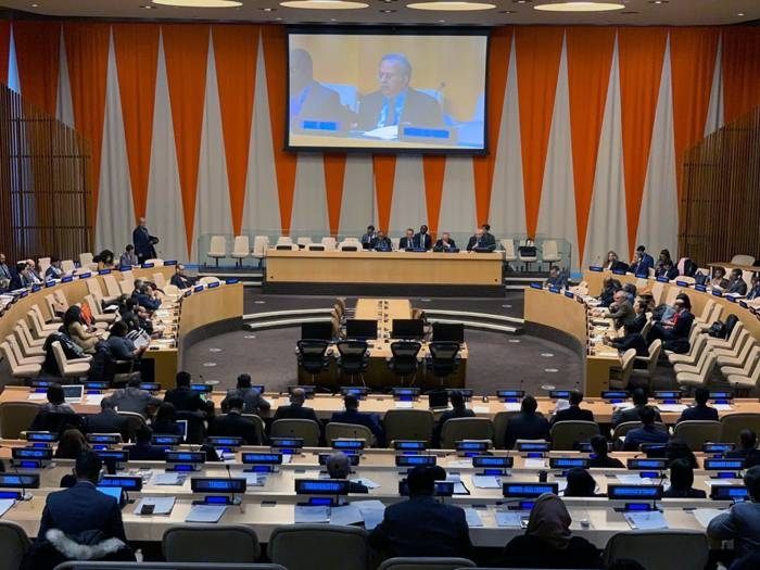 Ambassador Abdullah Al-Muallami, Permanent Representative of Saudi Arabia to the United Nations, addressing the meeting of the Group of 77 and China at the United Nations headquarters in New York. — SPA